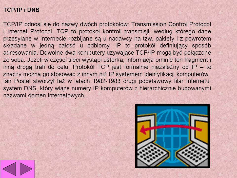 TCP/IP i DNS TCP/IP odnosi się do nazwy dwóch protokołów: Transmission Control Protocol i Internet Protocol.