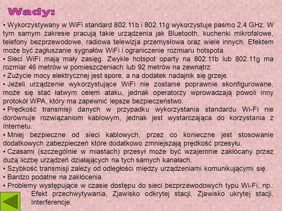 Wykorzystywany w WiFi standard 802.11b i 802.11g wykorzystuje pasmo 2,4 GHz.