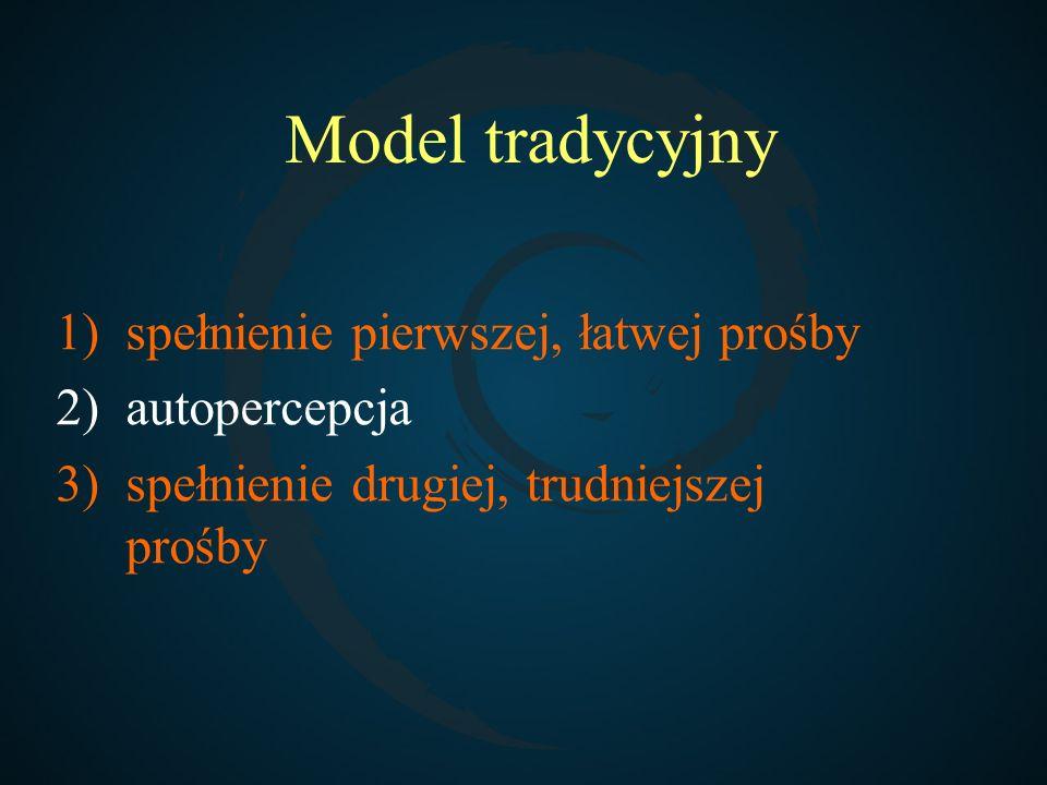 Model tradycyjny 1)spełnienie pierwszej, łatwej prośby 2)autopercepcja 3)spełnienie drugiej, trudniejszej prośby