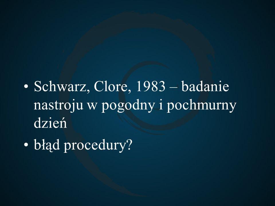 Schwarz, Clore, 1983 – badanie nastroju w pogodny i pochmurny dzień błąd procedury?