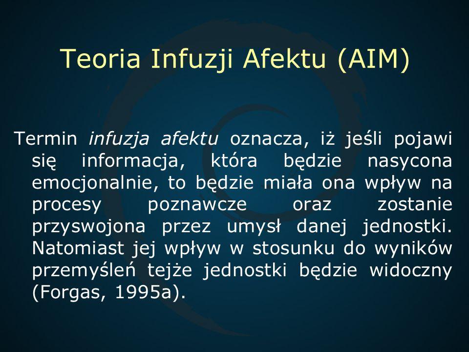 Teoria Infuzji Afektu (AIM) Termin infuzja afektu oznacza, iż jeśli pojawi się informacja, która będzie nasycona emocjonalnie, to będzie miała ona wpł