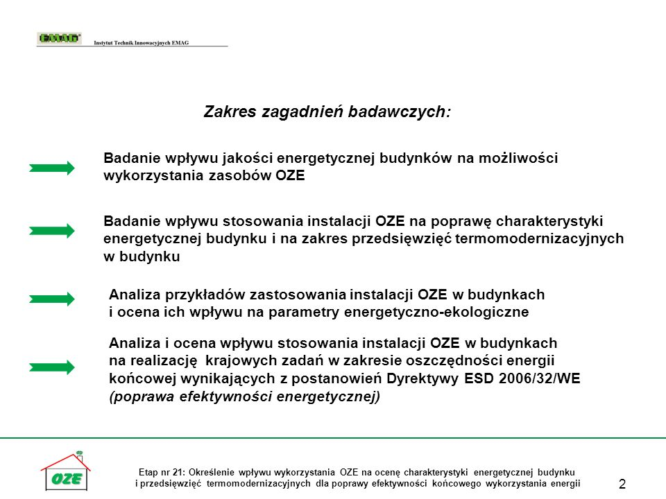 13 Etap nr 21: Określenie wpływu wykorzystania OZE na ocenę charakterystyki energetycznej budynku i przedsięwzięć termomodernizacyjnych dla poprawy efektywności końcowego wykorzystania energii Badanie zastosowania różnych rodzajów instalacji OZE i ich wpływ na wielkość wskaźników EP i EK w charakterystyce energetycznej budynku mieszkalnego Nr wariantu Źródło energii na potrzeby c.o.Źródło energii na potrzeby przygotowania c.w.u.