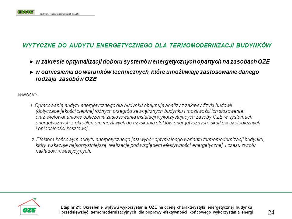 24 Etap nr 21: Określenie wpływu wykorzystania OZE na ocenę charakterystyki energetycznej budynku i przedsięwzięć termomodernizacyjnych dla poprawy ef