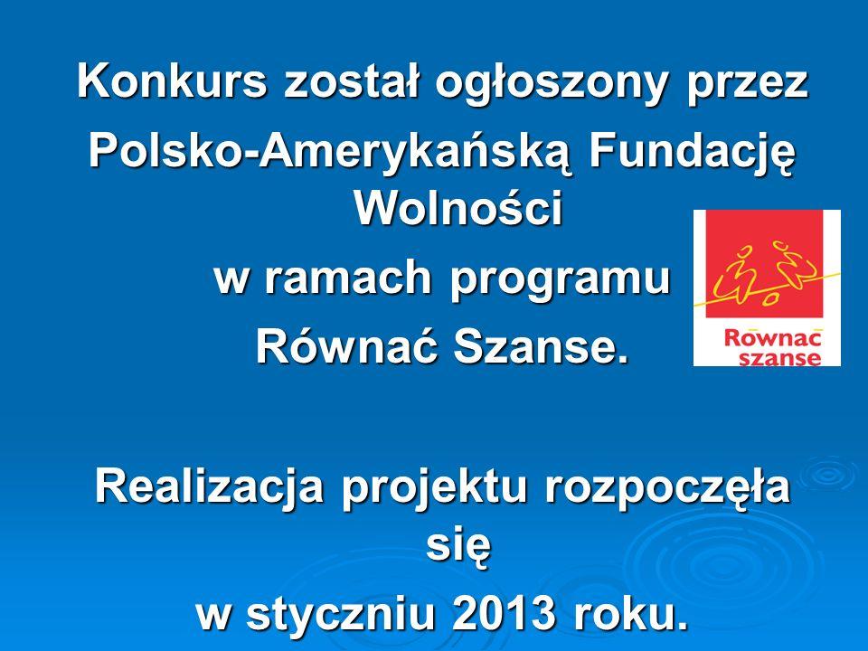 Konkurs został ogłoszony przez Polsko-Amerykańską Fundację Wolności w ramach programu Równać Szanse. Realizacja projektu rozpoczęła się w styczniu 201