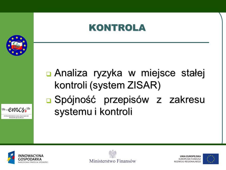 KONTROLA Analiza ryzyka w miejsce stałej kontroli (system ZISAR) Analiza ryzyka w miejsce stałej kontroli (system ZISAR) Spójność przepisów z zakresu
