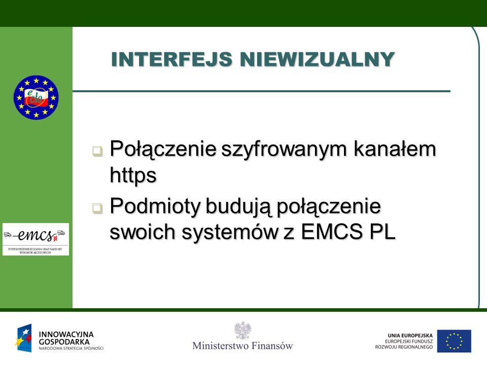 INTERFEJS NIEWIZUALNY Połączenie szyfrowanym kanałem https Połączenie szyfrowanym kanałem https Podmioty budują połączenie swoich systemów z EMCS PL P
