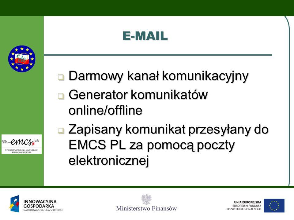 E-MAIL Darmowy kanał komunikacyjny Darmowy kanał komunikacyjny Generator komunikatów online/offline Generator komunikatów online/offline Zapisany komu