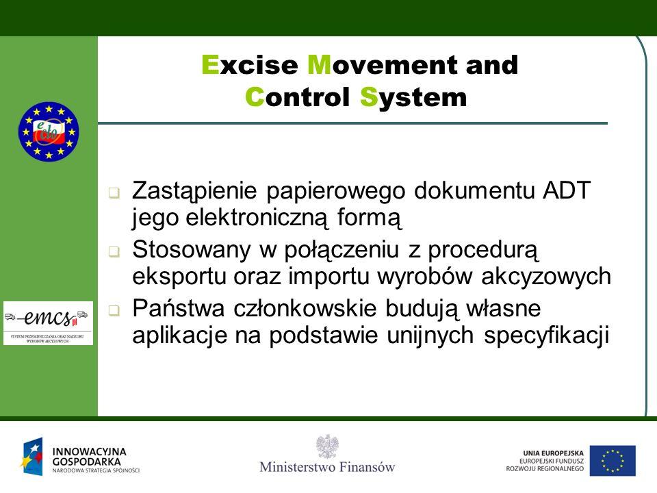 Excise Movement and Control System Zastąpienie papierowego dokumentu ADT jego elektroniczną formą Stosowany w połączeniu z procedurą eksportu oraz imp