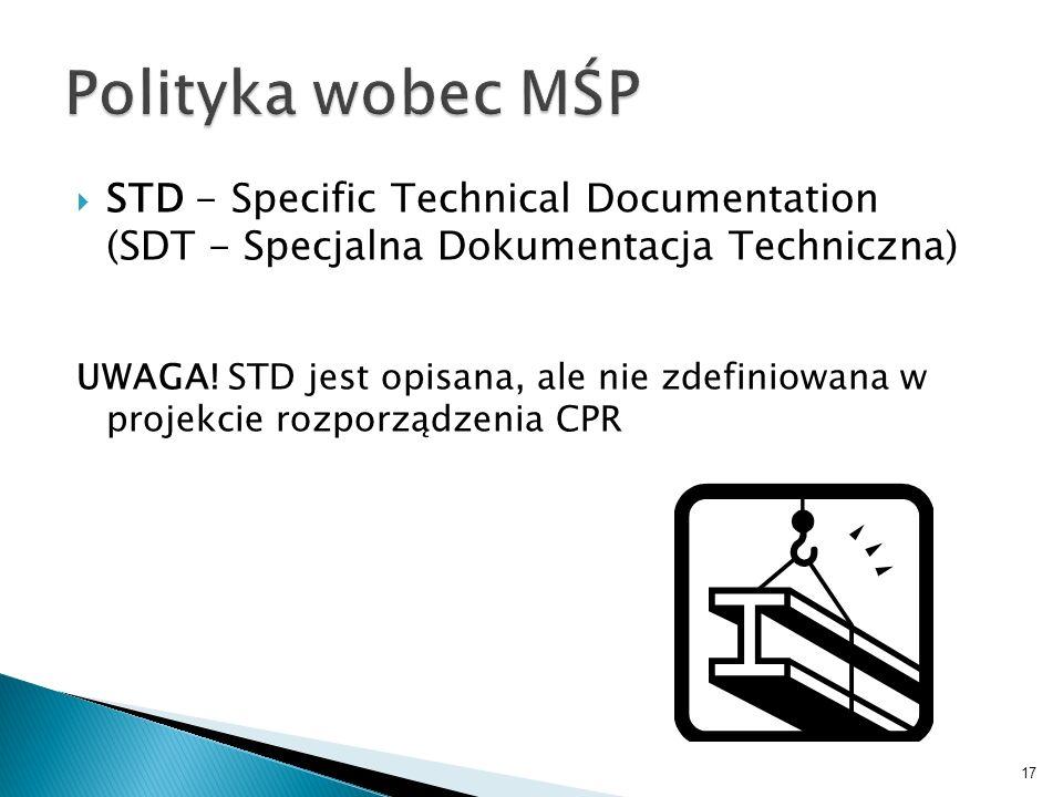 STD - Specific Technical Documentation (SDT - Specjalna Dokumentacja Techniczna) UWAGA! STD jest opisana, ale nie zdefiniowana w projekcie rozporządze