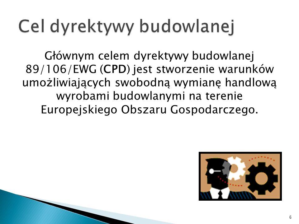 Głównym celem dyrektywy budowlanej 89/106/EWG (CPD) jest stworzenie warunków umożliwiających swobodną wymianę handlową wyrobami budowlanymi na terenie