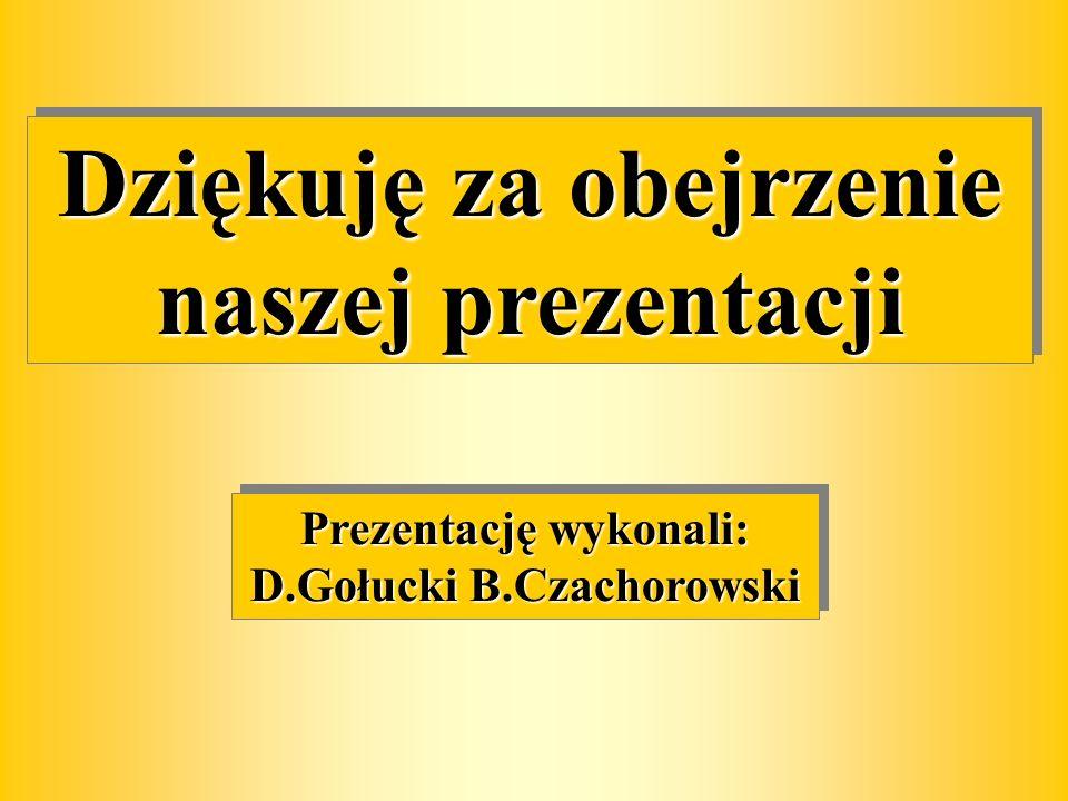 Dziękuję za obejrzenie naszej prezentacji Prezentację wykonali: D.Gołucki B.Czachorowski