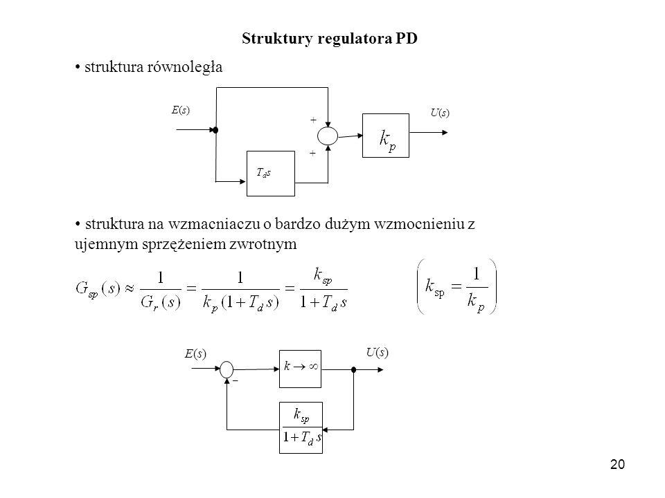 20 Struktury regulatora PD struktura równoległa E(s)E(s) U(s)U(s) + TdsTds + struktura na wzmacniaczu o bardzo dużym wzmocnieniu z ujemnym sprzężeniem