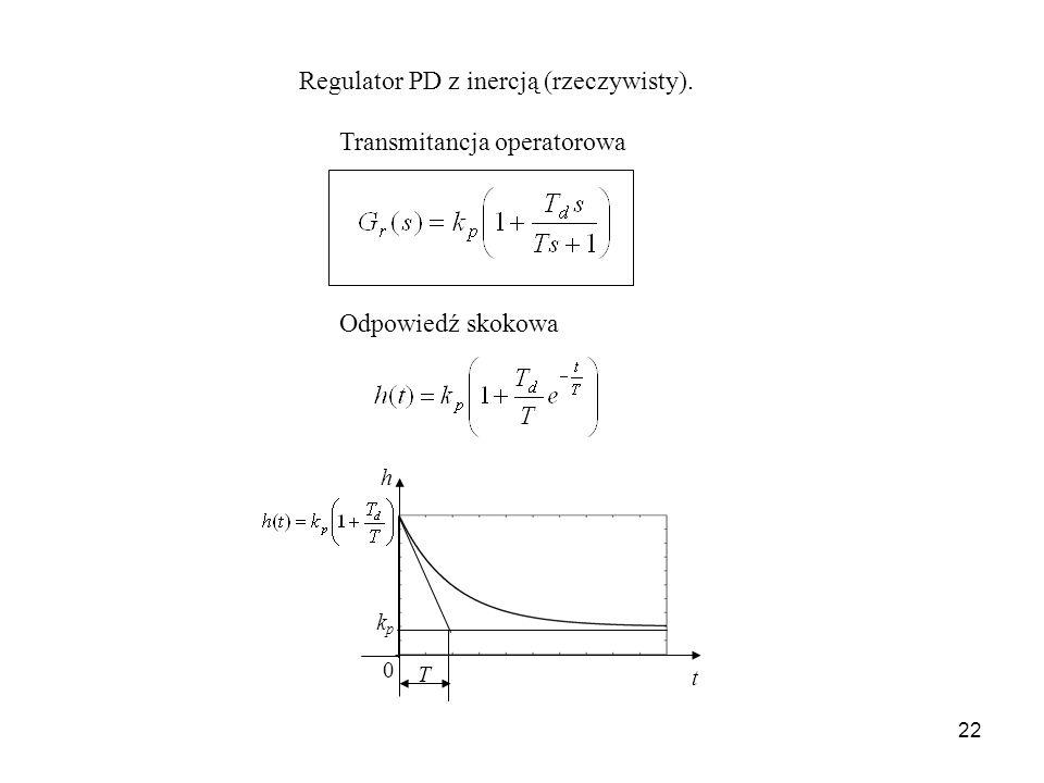 22 Regulator PD z inercją (rzeczywisty). Odpowiedź skokowa Transmitancja operatorowa t 0 kpkp T h