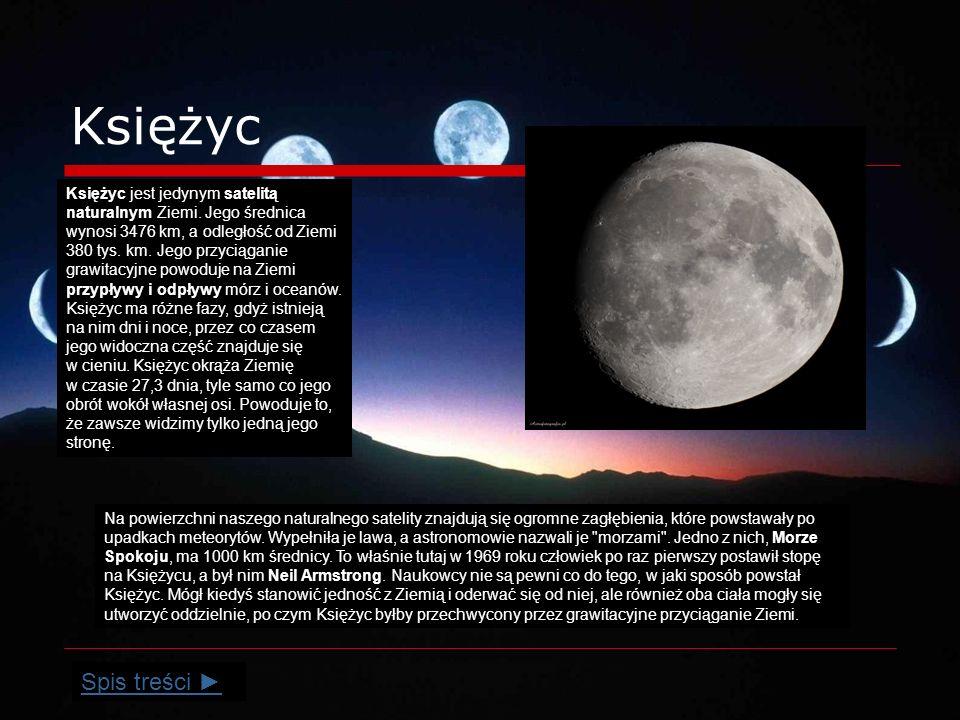 Księżyc Na powierzchni naszego naturalnego satelity znajdują się ogromne zagłębienia, które powstawały po upadkach meteorytów.
