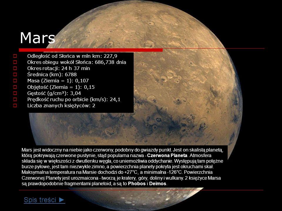 Mars Odległość od Słońca w mln km: 227,9 Okres obiegu wokół Słońca: 686,738 dnia Okres rotacji: 24 h 37 min Średnica (km): 6788 Masa (Ziemia = 1): 0,107 Objętość (Ziemia = 1): 0,15 Gęstość (g/cm³): 3,04 Prędkość ruchu po orbicie (km/s): 24,1 Liczba znanych księżyców: 2 Mars jest widoczny na niebie jako czerwony, podobny do gwiazdy punkt.