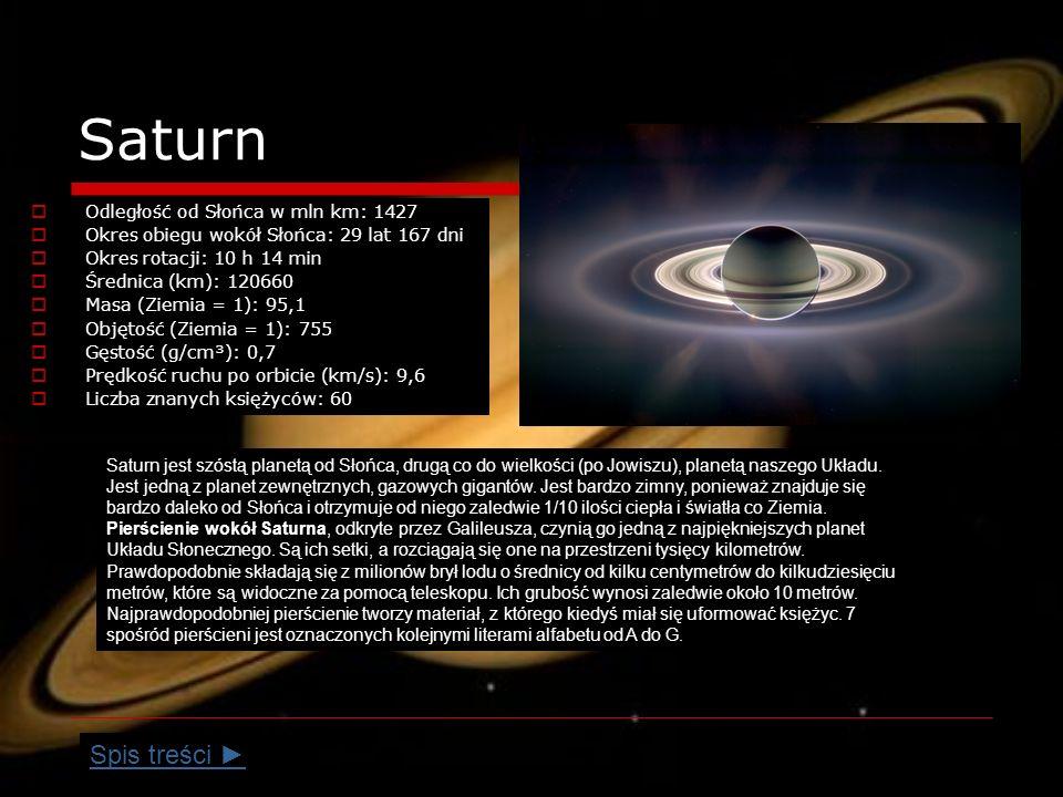Saturn Odległość od Słońca w mln km: 1427 Okres obiegu wokół Słońca: 29 lat 167 dni Okres rotacji: 10 h 14 min Średnica (km): 120660 Masa (Ziemia = 1): 95,1 Objętość (Ziemia = 1): 755 Gęstość (g/cm³): 0,7 Prędkość ruchu po orbicie (km/s): 9,6 Liczba znanych księżyców: 60 Saturn jest szóstą planetą od Słońca, drugą co do wielkości (po Jowiszu), planetą naszego Układu.