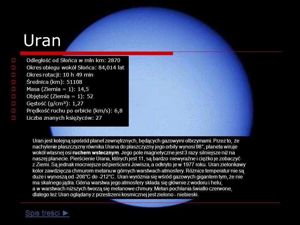 Uran Odległość od Słońca w mln km: 2870 Okres obiegu wokół Słońca: 84,014 lat Okres rotacji: 10 h 49 min Średnica (km): 51108 Masa (Ziemia = 1): 14,5 Objętość (Ziemia = 1): 52 Gęstość (g/cm³): 1,27 Prędkość ruchu po orbicie (km/s): 6,8 Liczba znanych księżyców: 27 Uran jest kolejną spośród planet zewnętrznych, będących gazowymi olbrzymami.