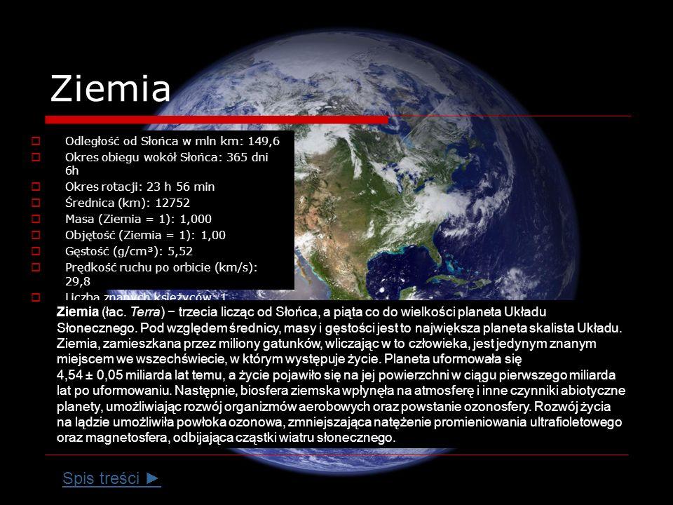 Ziemia Odległość od Słońca w mln km: 149,6 Okres obiegu wokół Słońca: 365 dni 6h Okres rotacji: 23 h 56 min Średnica (km): 12752 Masa (Ziemia = 1): 1,000 Objętość (Ziemia = 1): 1,00 Gęstość (g/cm³): 5,52 Prędkość ruchu po orbicie (km/s): 29,8 Liczba znanych księżyców: 1 Ziemia (łac.