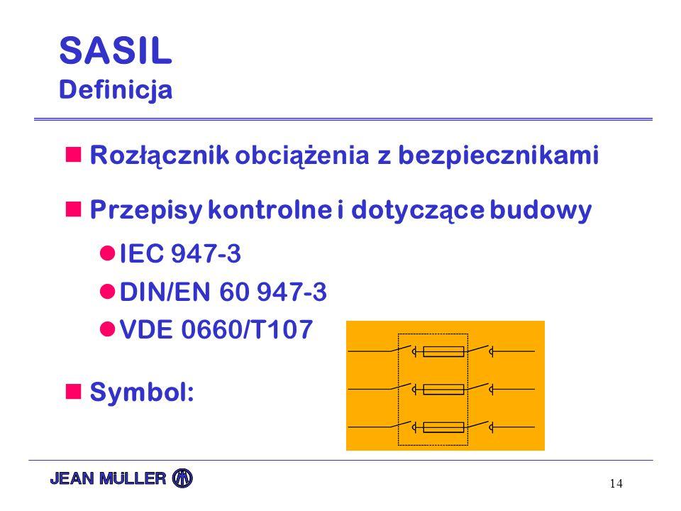 14 SASIL Definicja Roz łą cznik obciążenia z bezpiecznikami Przepisy kontrolne i dotycz ą ce budowy IEC 947-3 DIN/EN 60 947-3 VDE 0660/T107 Symbol: