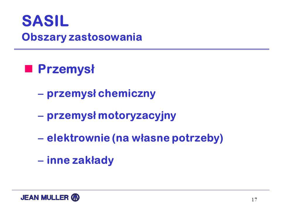 17 SASIL Obszary zastosowania Przemys ł –przemys ł chemiczny –przemys ł motoryzacyjny –elektrownie (na w ł asne potrzeby) –inne zak ł ady