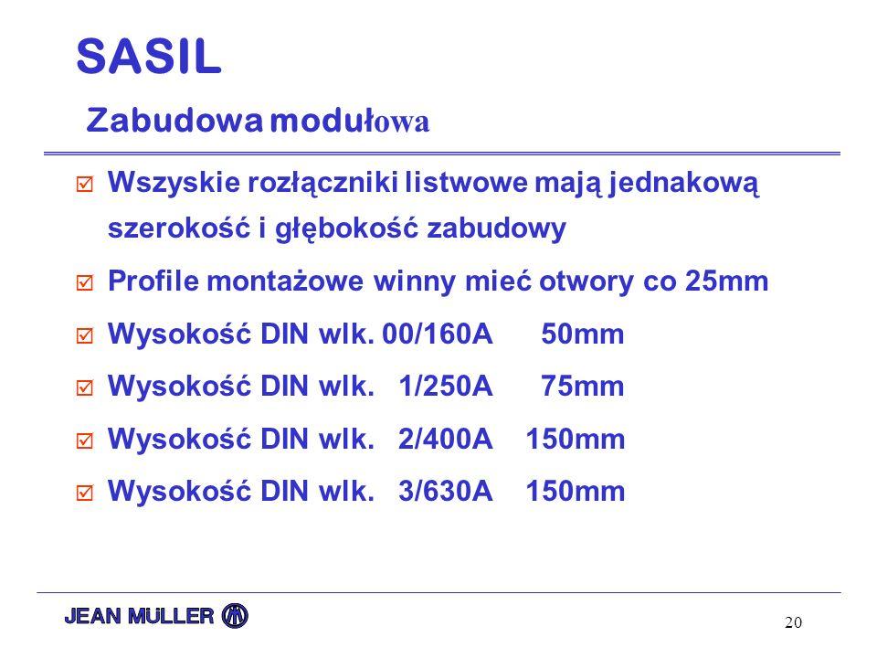 20 SASIL Zabudowa modu ł owa þ Wszyskie rozłączniki listwowe mają jednakową szerokość i głębokość zabudowy þ Profile montażowe winny mieć otwory co 25