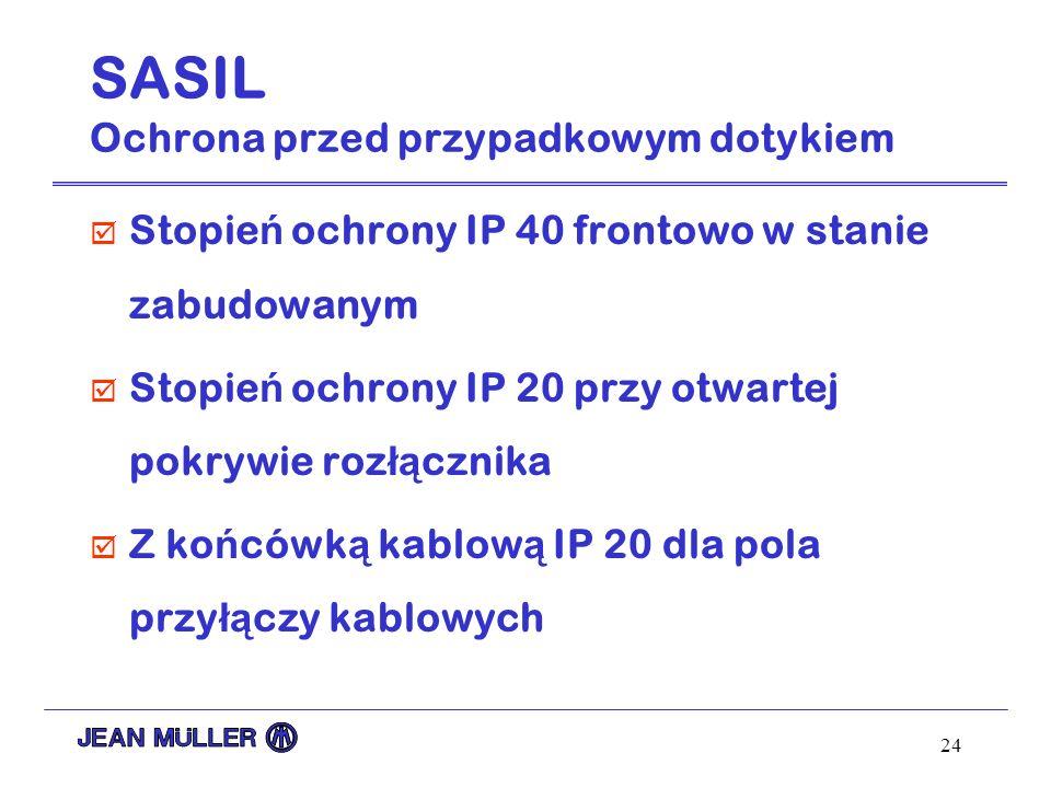 24 SASIL Ochrona przed przypadkowym dotykiem þ Stopie ń ochrony IP 40 frontowo w stanie zabudowanym þ Stopie ń ochrony IP 20 przy otwartej pokrywie ro