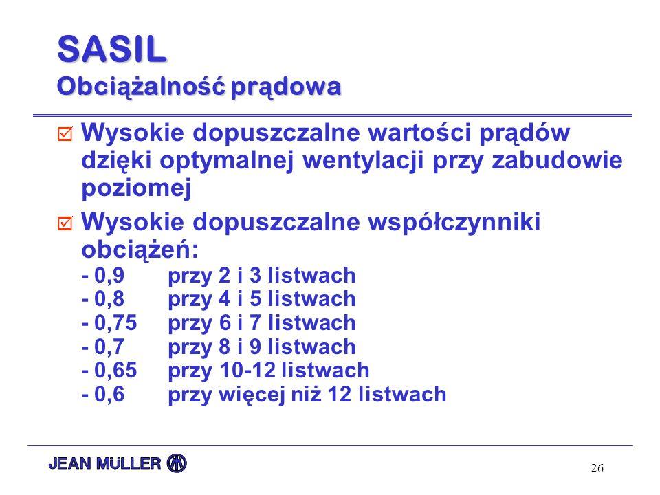 26 SASIL Obci ąż alno ść pr ą dowa þ Wysokie dopuszczalne wartości prądów dzięki optymalnej wentylacji przy zabudowie poziomej þ Wysokie dopuszczalne