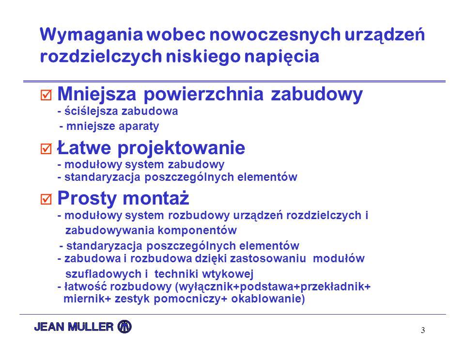 3 Wymagania wobec nowoczesnych urz ą dze ń rozdzielczych niskiego napi ę cia þ Mniejsza powierzchnia zabudowy - ściślejsza zabudowa - mniejsze aparaty