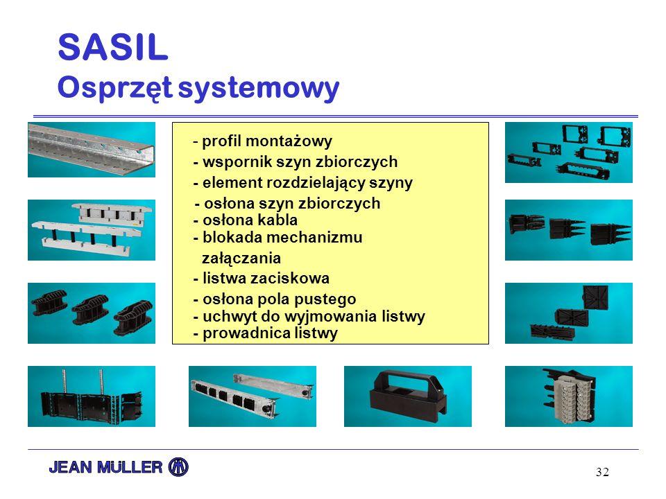 32 - profil montażowy - wspornik szyn zbiorczych - element rozdzielający szyny - osłona szyn zbiorczych - osłona kabla - blokada mechanizmu załączania