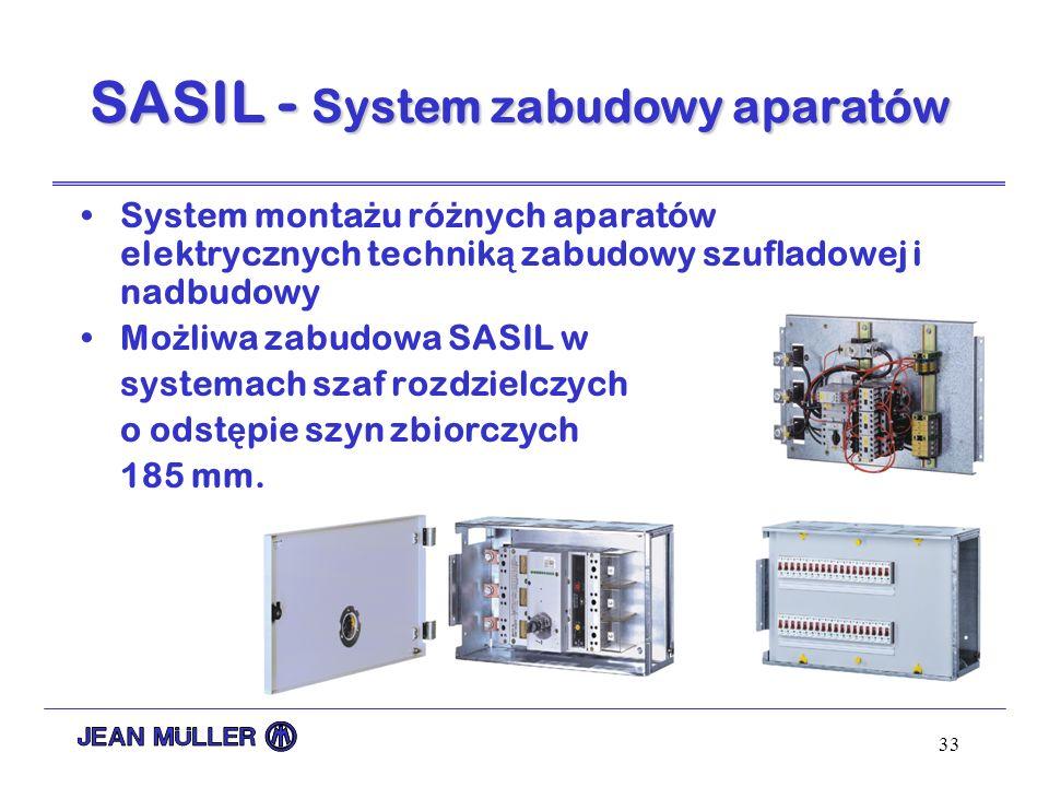 33 System monta ż u ró ż nych aparatów elektrycznych technik ą zabudowy szufladowej i nadbudowy Mo ż liwa zabudowa SASIL w systemach szaf rozdzielczyc