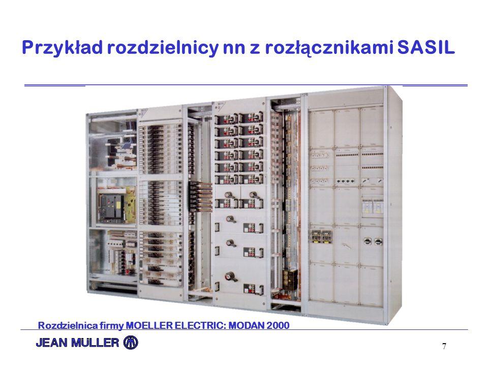 7 Przyk ł ad rozdzielnicy nn z roz łą cznikami SASIL Rozdzielnica firmy MOELLER ELECTRIC: MODAN 2000