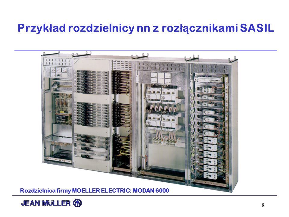 8 Przyk ł ad rozdzielnicy nn z roz łą cznikami SASIL Rozdzielnica firmy MOELLER ELECTRIC: MODAN 6000