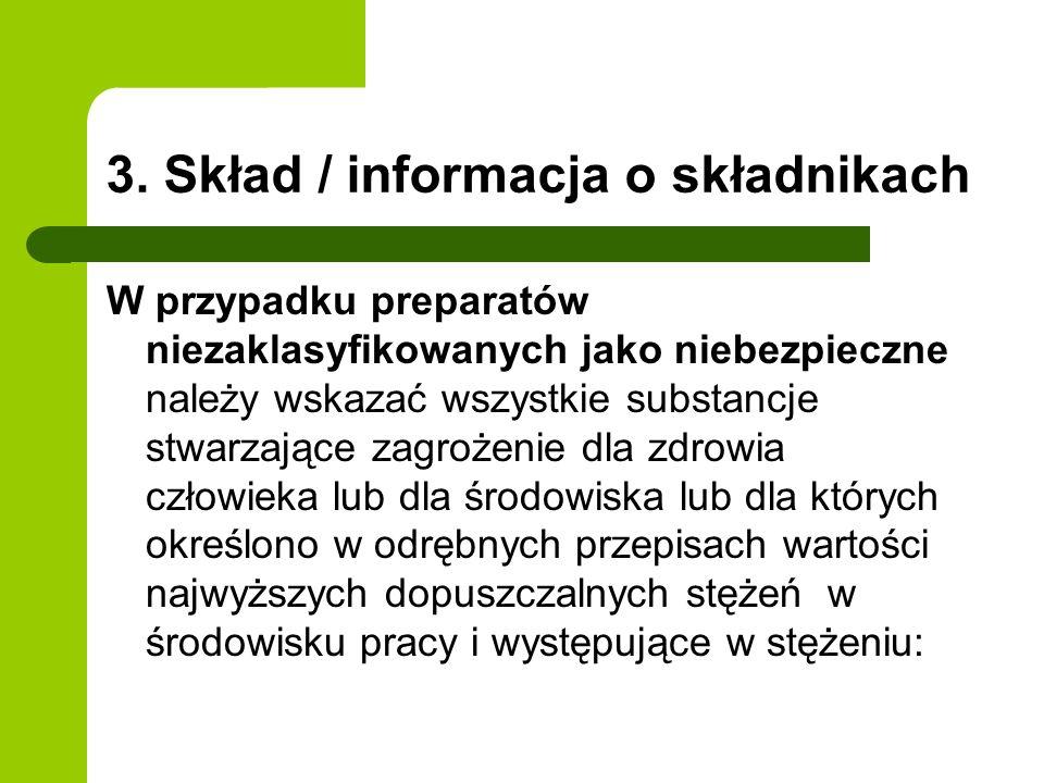 3. Skład / informacja o składnikach W przypadku preparatów niezaklasyfikowanych jako niebezpieczne należy wskazać wszystkie substancje stwarzające zag