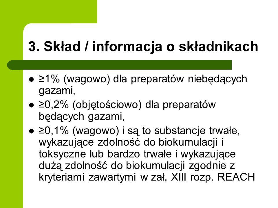 3. Skład / informacja o składnikach 1% (wagowo) dla preparatów niebędących gazami, 0,2% (objętościowo) dla preparatów będących gazami, 0,1% (wagowo) i