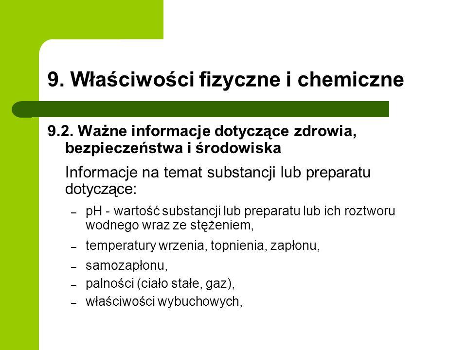 9. Właściwości fizyczne i chemiczne 9.2. Ważne informacje dotyczące zdrowia, bezpieczeństwa i środowiska Informacje na temat substancji lub preparatu