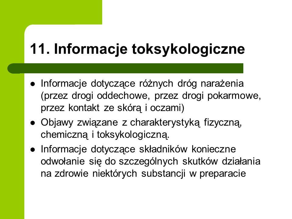 11. Informacje toksykologiczne Informacje dotyczące różnych dróg narażenia (przez drogi oddechowe, przez drogi pokarmowe, przez kontakt ze skórą i ocz