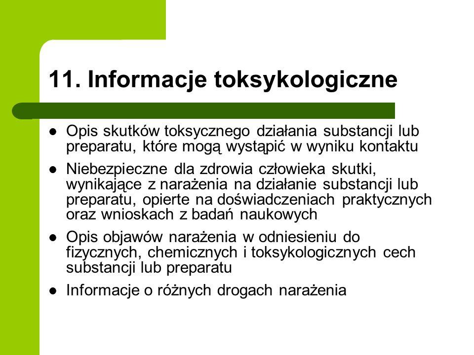 11. Informacje toksykologiczne Opis skutków toksycznego działania substancji lub preparatu, które mogą wystąpić w wyniku kontaktu Niebezpieczne dla zd