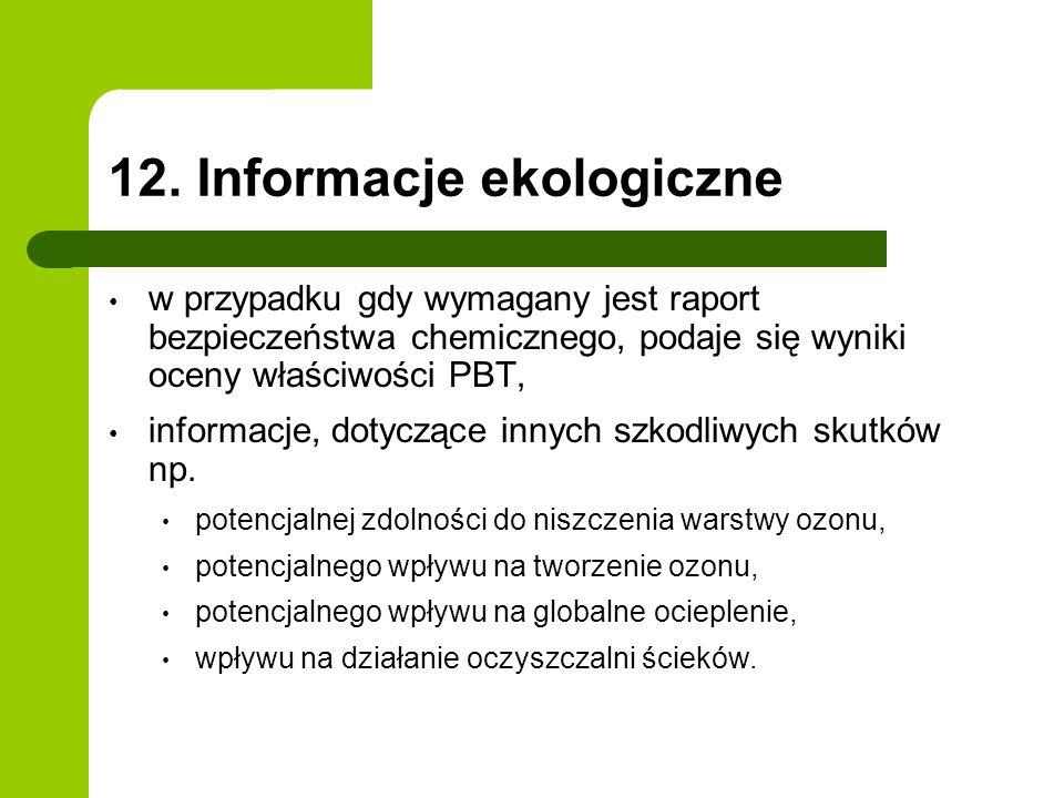 12. Informacje ekologiczne w przypadku gdy wymagany jest raport bezpieczeństwa chemicznego, podaje się wyniki oceny właściwości PBT, informacje, dotyc