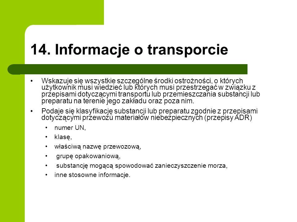 14. Informacje o transporcie Wskazuje się wszystkie szczególne środki ostrożności, o których użytkownik musi wiedzieć lub których musi przestrzegać w
