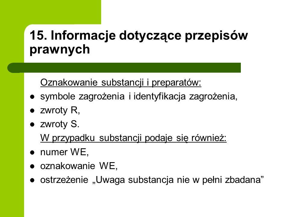 15. Informacje dotyczące przepisów prawnych Oznakowanie substancji i preparatów: symbole zagrożenia i identyfikacja zagrożenia, zwroty R, zwroty S. W