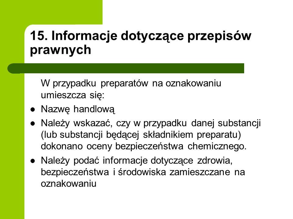15. Informacje dotyczące przepisów prawnych W przypadku preparatów na oznakowaniu umieszcza się: Nazwę handlową Należy wskazać, czy w przypadku danej