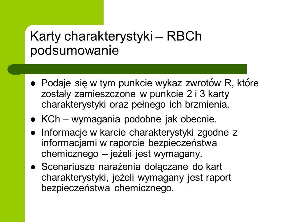 Karty charakterystyki – RBCh podsumowanie Podaje się w tym punkcie wykaz zwrot ó w R, kt ó re zostały zamieszczone w punkcie 2 i 3 karty charakterysty