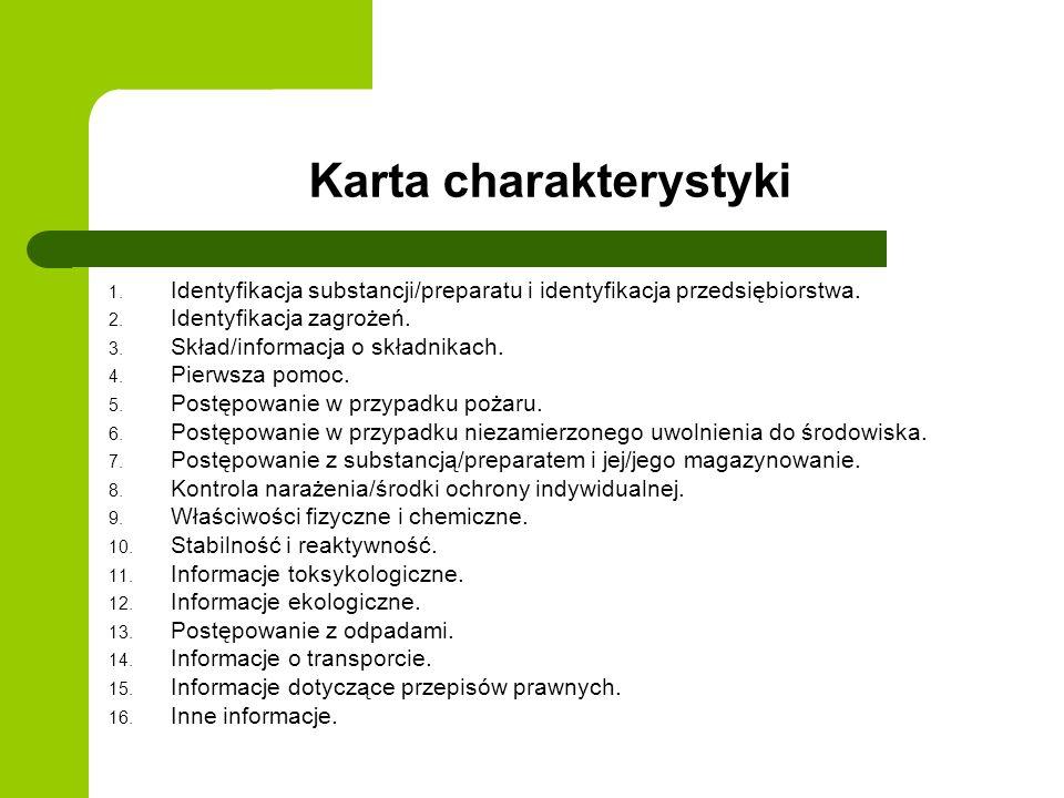 Karta charakterystyki 1. Identyfikacja substancji/preparatu i identyfikacja przedsiębiorstwa. 2. Identyfikacja zagrożeń. 3. Skład/informacja o składni
