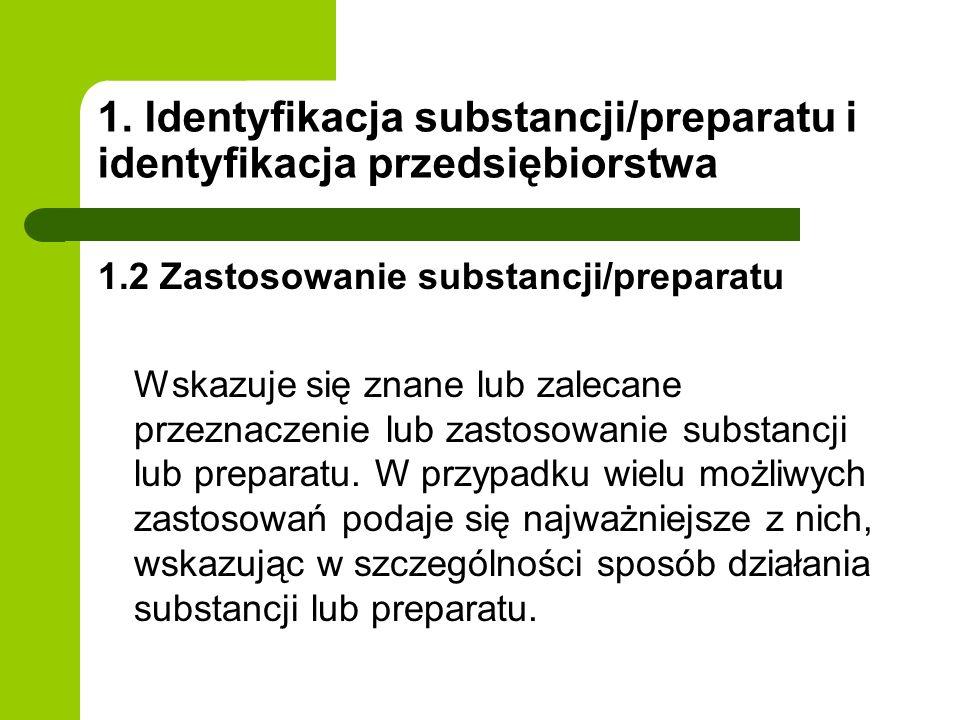 1. Identyfikacja substancji/preparatu i identyfikacja przedsiębiorstwa 1.2 Zastosowanie substancji/preparatu Wskazuje się znane lub zalecane przeznacz