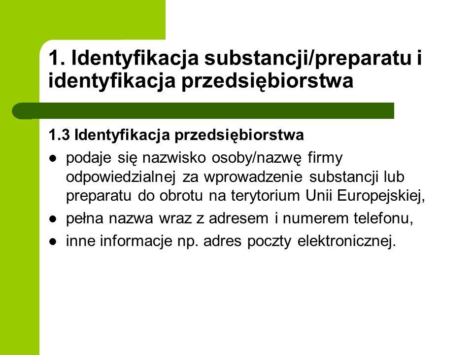 1. Identyfikacja substancji/preparatu i identyfikacja przedsiębiorstwa 1.3 Identyfikacja przedsiębiorstwa podaje się nazwisko osoby/nazwę firmy odpowi