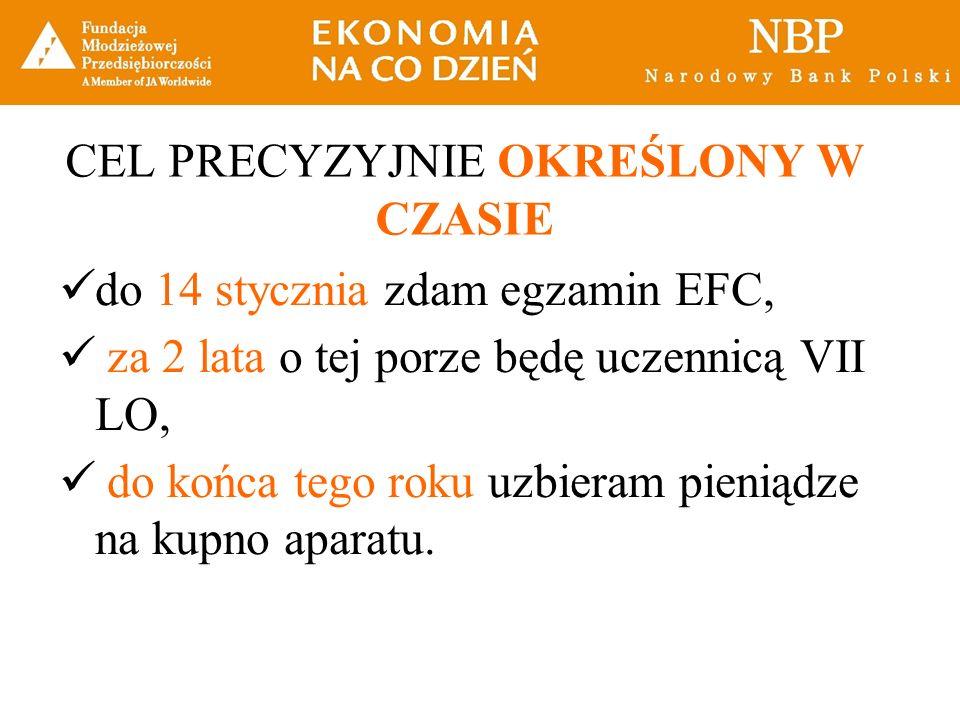 CEL PRECYZYJNIE OKREŚLONY W CZASIE do 14 stycznia zdam egzamin EFC, za 2 lata o tej porze będę uczennicą VII LO, do końca tego roku uzbieram pieniądze