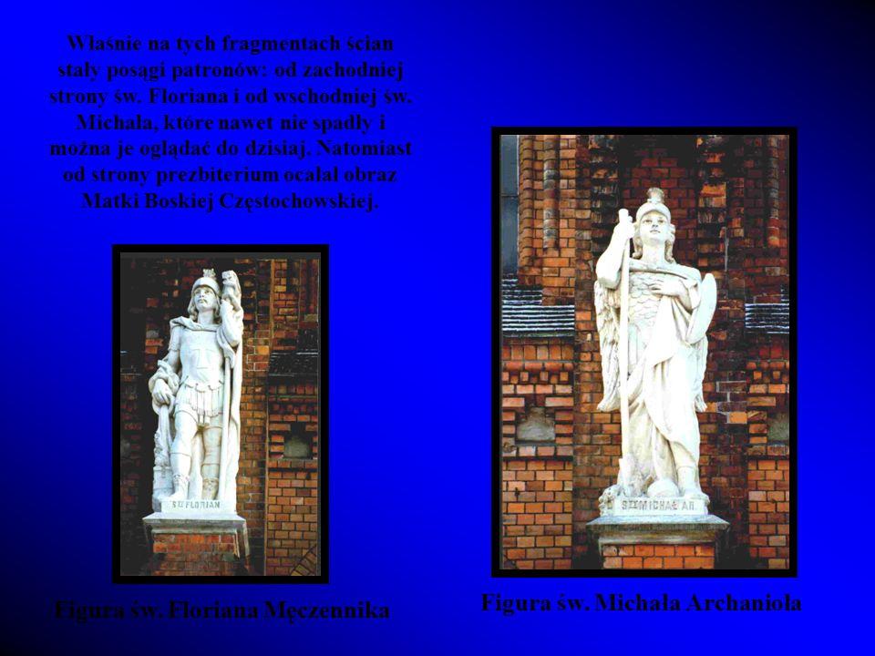 Właśnie na tych fragmentach ścian stały posągi patronów: od zachodniej strony św.