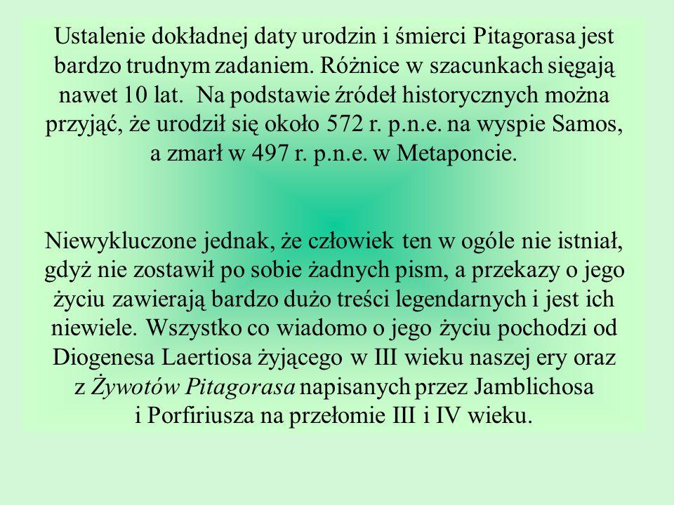 Ustalenie dokładnej daty urodzin i śmierci Pitagorasa jest bardzo trudnym zadaniem.