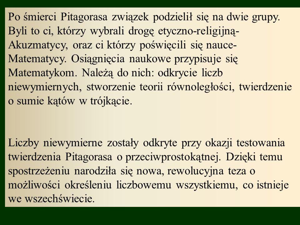 Po śmierci Pitagorasa związek podzielił się na dwie grupy.