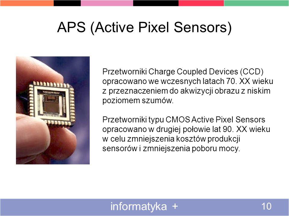 APS (Active Pixel Sensors) informatyka + 10 Przetworniki Charge Coupled Devices (CCD) opracowano we wczesnych latach 70. XX wieku z przeznaczeniem do
